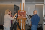 "Setting up the ""Horn and Feathers"" painting to be shot in RTI."
